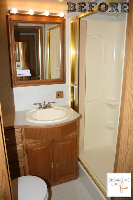 RV Bathroom BEFORE with brass shower :: OrganizingMadeFun.com