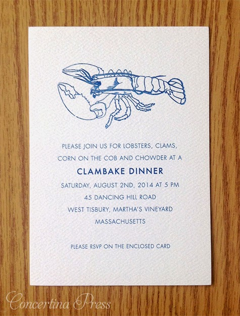 Clambake Dinner wedding enclosure card with lobster by Concertina Press