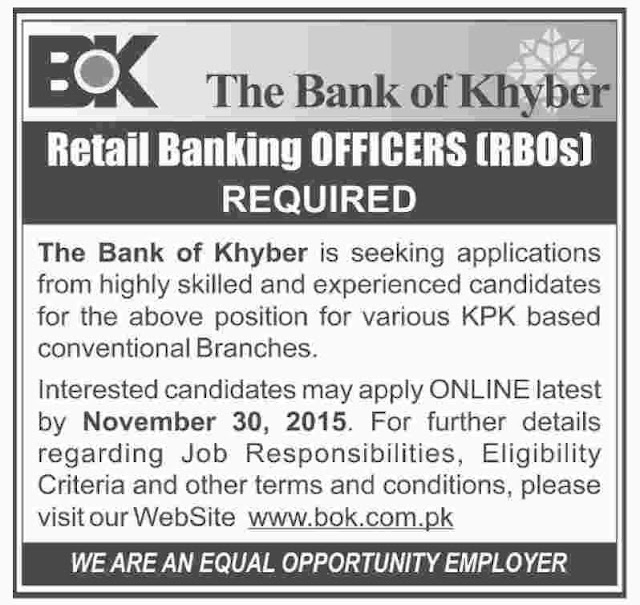 Retail Banking Officer Jobs in The Bank of Khyber