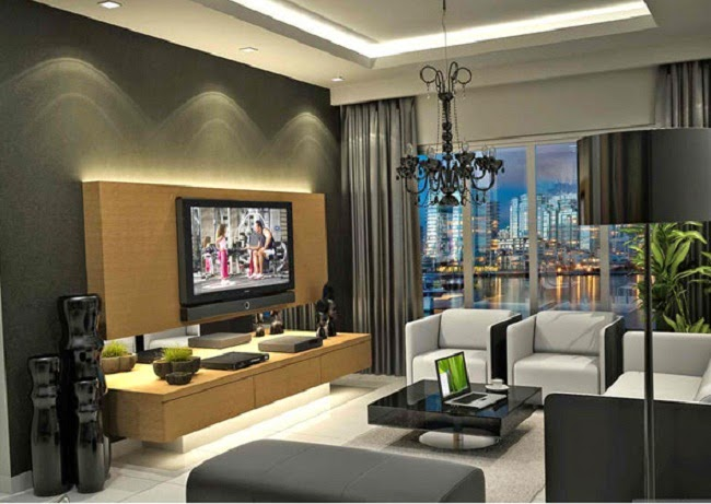 Contemporary living room with lighting decoration