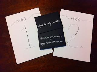 wedding escort cards calligraphy