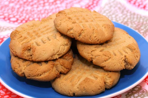 Powdered Peanut Butter Cookies on Plate