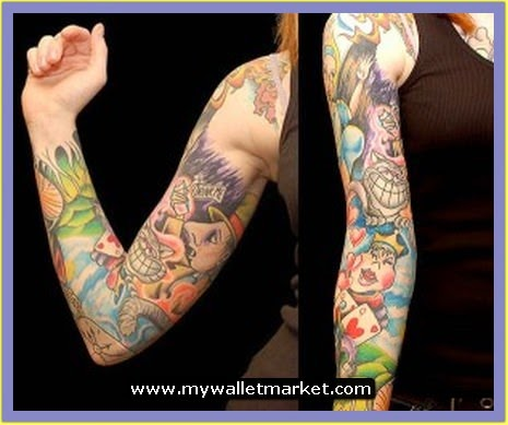 Alice in Wonderland Card Tattoo Sleeve and Full Shoulder | Tattoos ...