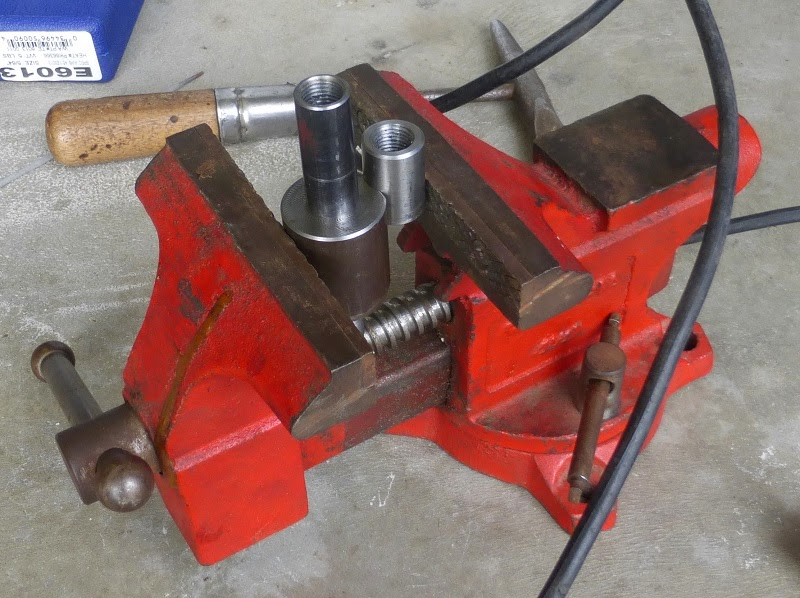 burner pieces in vise ready to weld