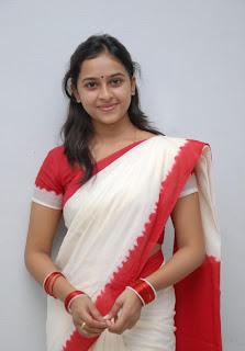 Sri Divya Spicy Actress in white Saree Red Border