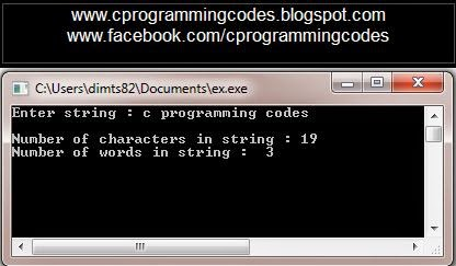 Output of How to count Numbers of  Words and Characters in String C program