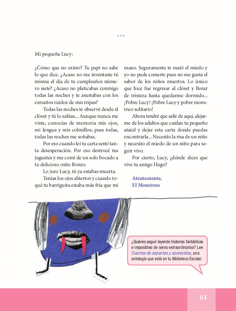 Lucy y el monstruo - Español Lecturas 5to 2014-2015