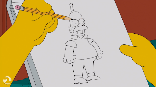 Bart notices similarities between Homer and Bender, like the fact that they both started out as ripoffs of Walter Matthau.