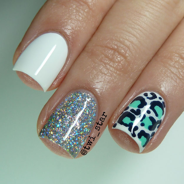 Aqua White and Silver animal leopard nail art spots