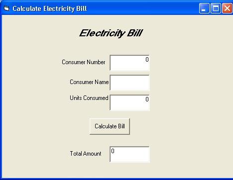 Electricity Bill Calculator C Program