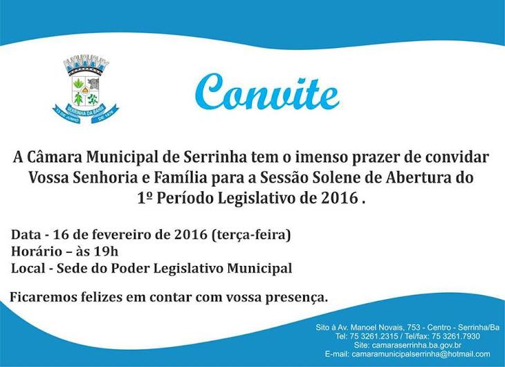 Câmara de vereadores de Serrinha convida