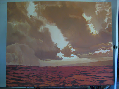 Volcano, Hawaii, atmospheric, haze, clouds, storm, under-painting