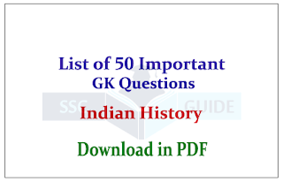 List of 50 Expected Questions from Indian History