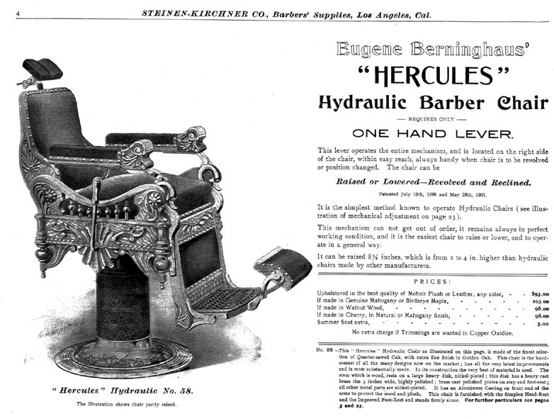 Orginal ad for Hercules barber chair, circa 1900, goes up and down through  the air not back and forth through time (picture credit Harvey Mayo and Don  ... - The Case Files Of The Thing Detectives: The Case Of The Time