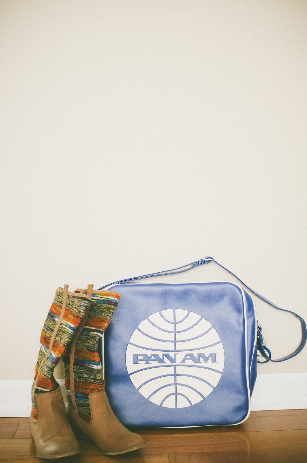 Pan Am bag, vintage, colorful boots, hip, trendy