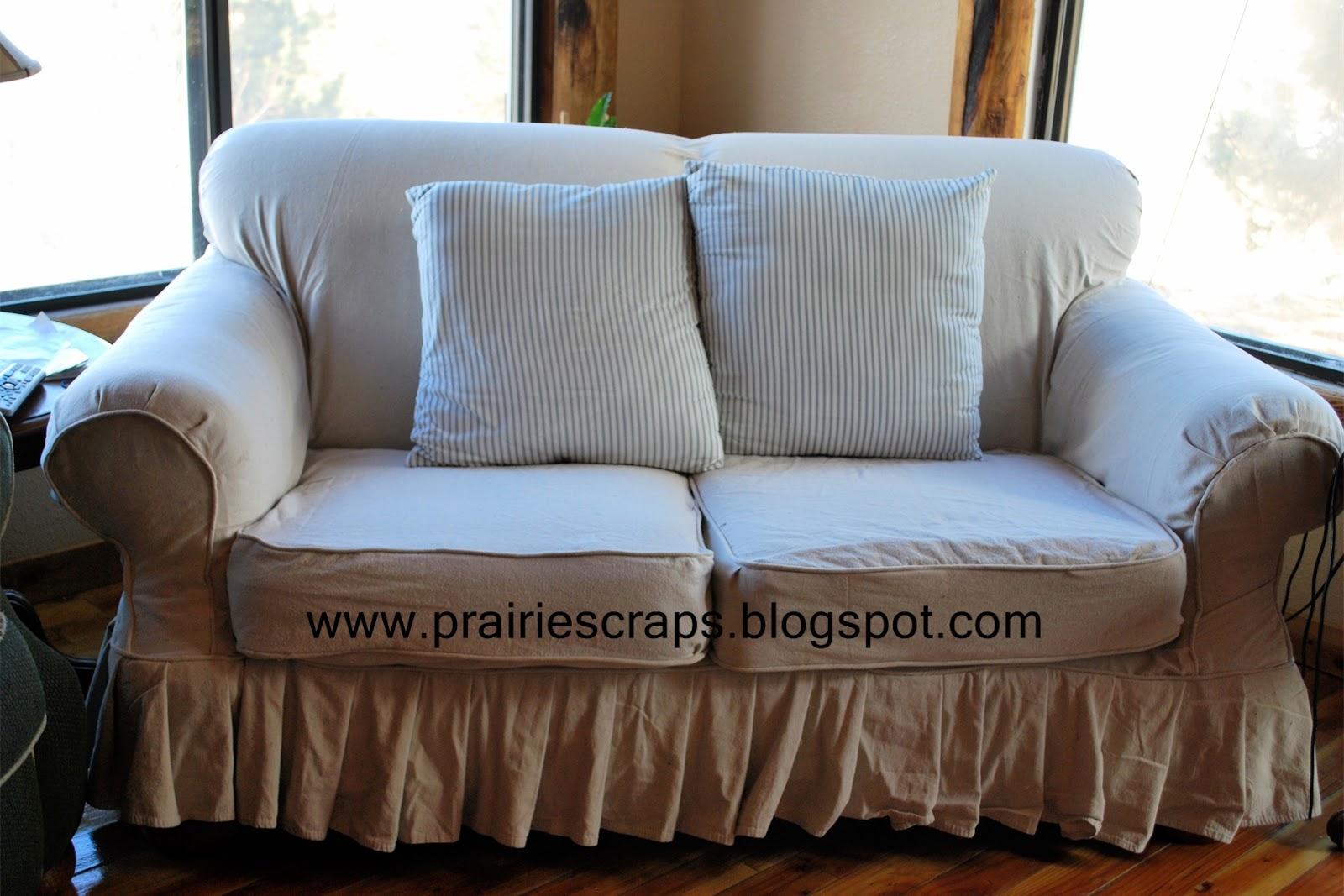 Prairie Scraps Drop Cloth Couch Redo