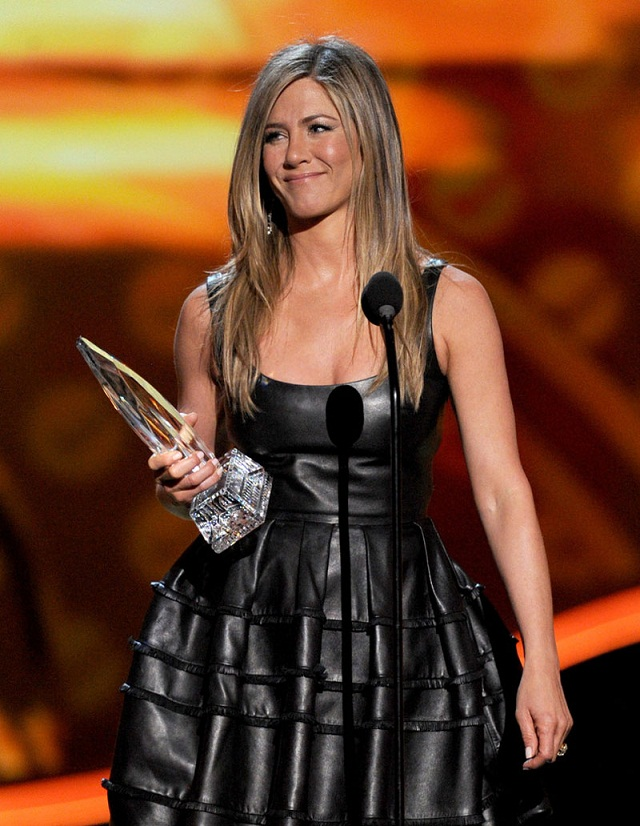 Jennifer Aniston wears a leather Dior dress at the People's Choice