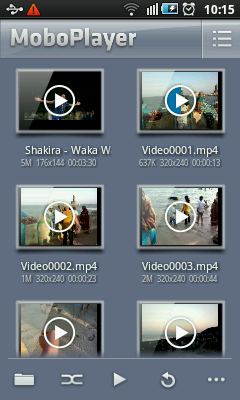 Android Video Player - Main Screen