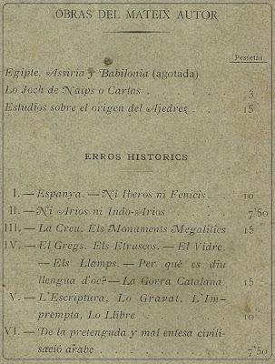 Contraportada con todos los tomos de Errors Histórich de Joseph Brunet i Bellet