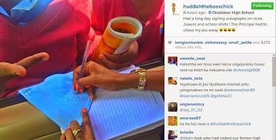 Huddah Monroe signs Autographs