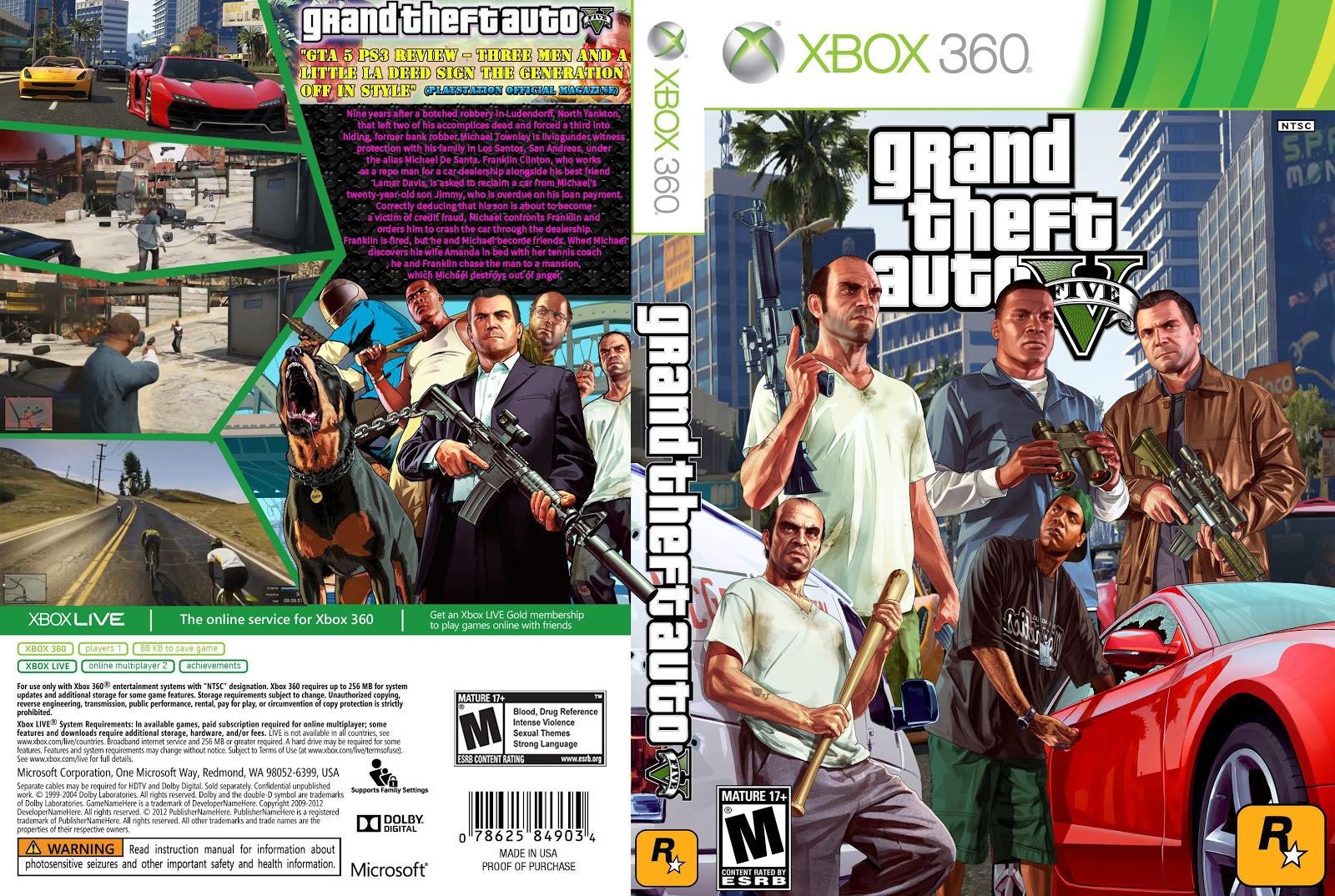 Capa Grand Theft Auto V Xbox 360