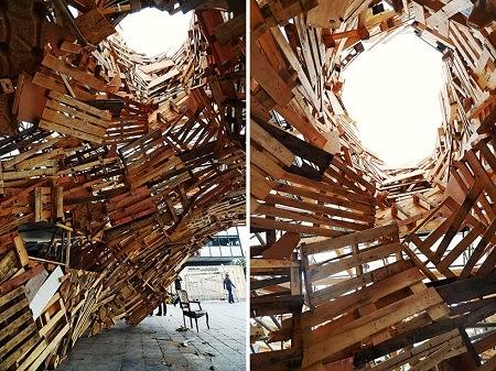 Instalacion con Palets Reciclados, Arquitectura Sostenible