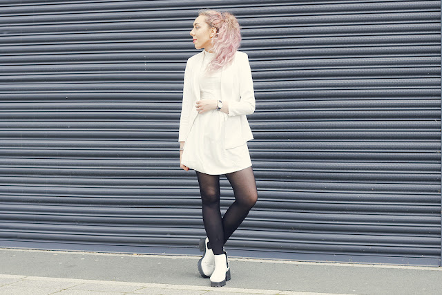 Turn Up Cuff Blazer * // Boohoo White Stand Collar Dress * // WalkTrendy Cleated Sole Platform Chelsea Boots * // SpyLoveBuy Black Strap Watch * // Daniel Wellington