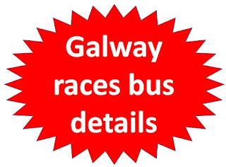 bright-red attention flag, labelled info about Galway races shuttle bus services to Ballybrit