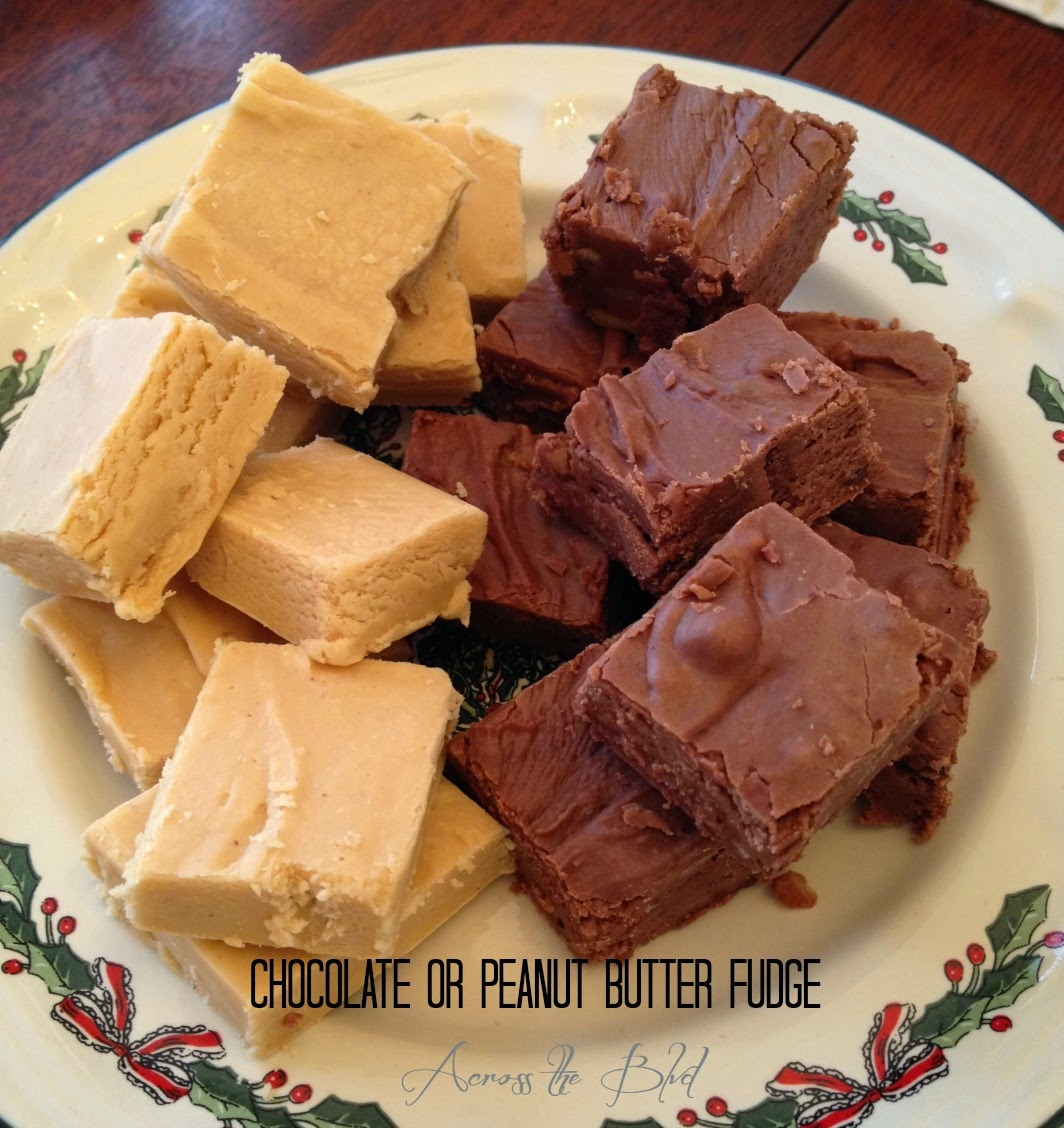 chocolate or peanut butter fudge