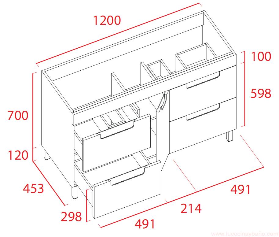 Mueble120 lavabo doble cristal tu cocina y ba o - Muebles de lavabo a medida ...