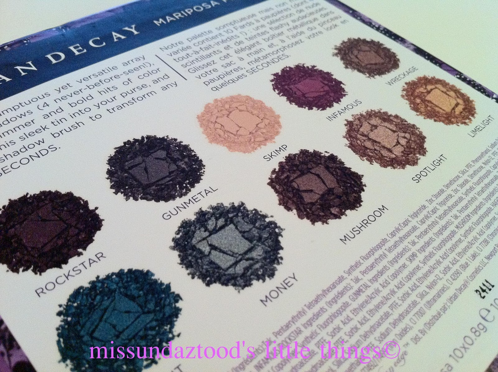 Urban Decay Mariposa palette contains combination of a 10 shimmer and ...