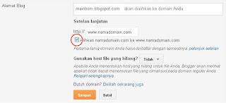 cara ganti domain blogspot ke domain sendiri di Domain.com