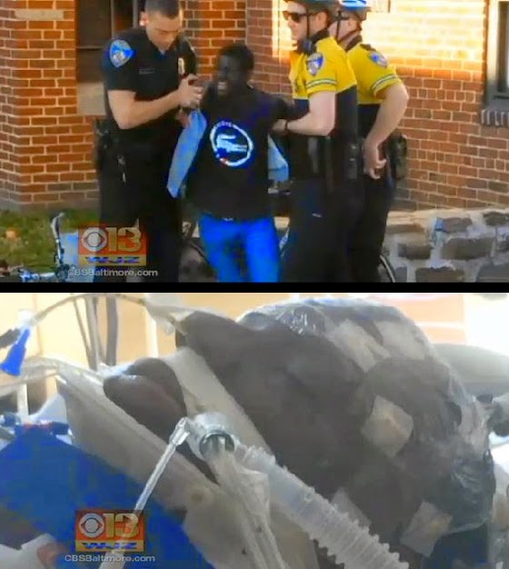 When he was arrested Freddie Gray was conscious and walking with a limp (top), but by the time he arrived at the hospital he had spinal injuries, was in critical condition and had to be placed in an induced coma.