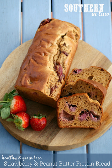 Grain Free Strawberry Peanut Butter Protein Bread Recipe  high protein, low fat, low carb, gluten free, clean eating friendly, grain free, low fat, gluten free, peanut flour recipes, protein muffins