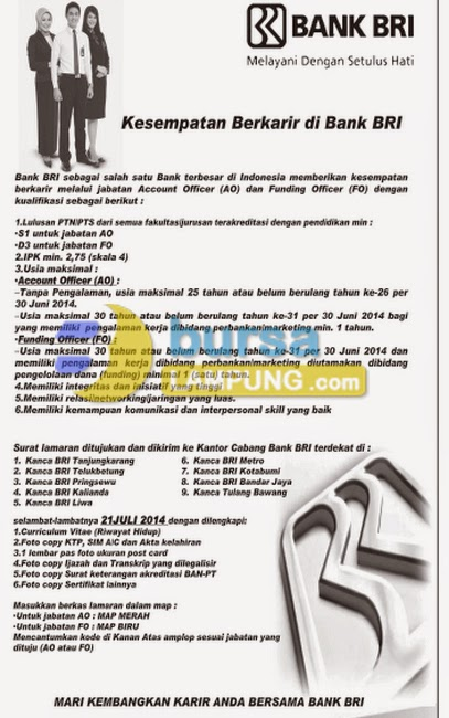 Lowongan Kerja BANK BRI Terbaru 19 Juli 2014