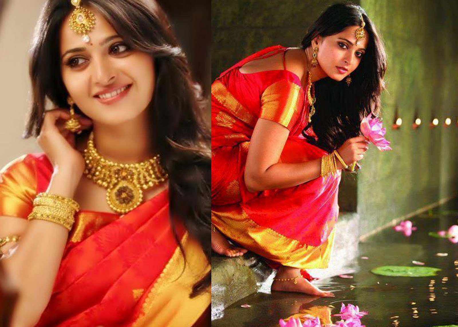 Anushka Shetty In Heavy Antique Necklace Jewellery Designs
