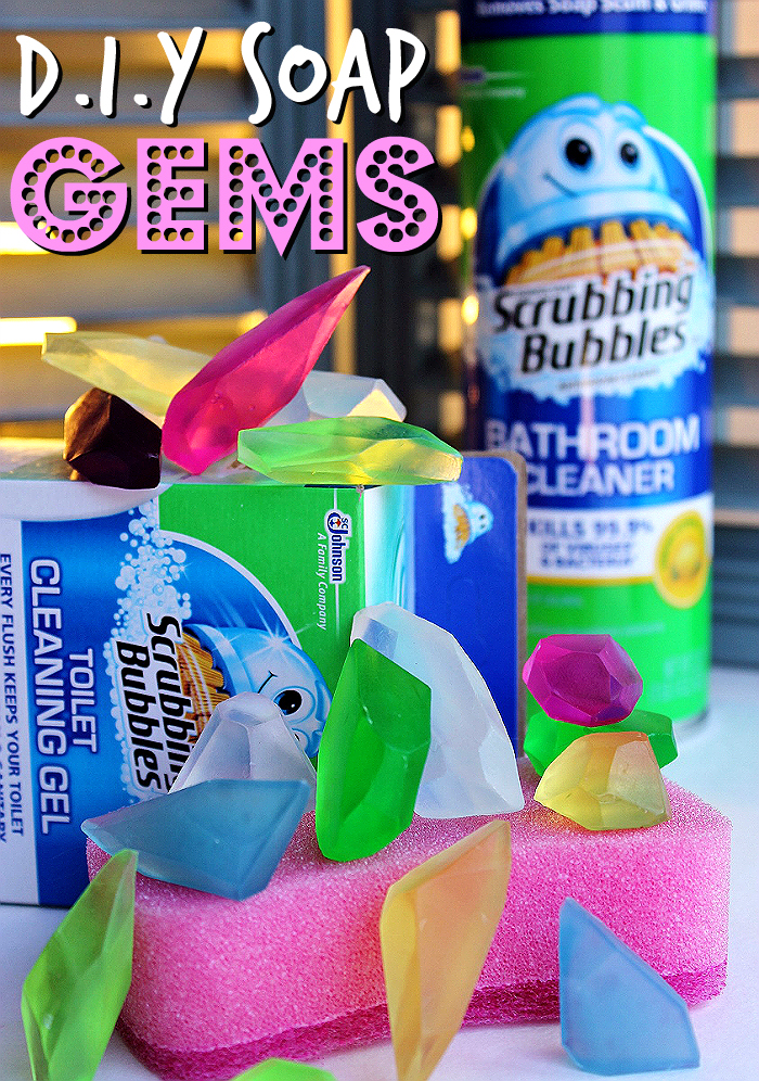 Carve glycerin soaps into gems for an instant sparkle in that guest bathroom! #SaveWithBubbles and make your bathroom sparkle for a few dollars with Dollar General, Scrubbing Bubbles®, and these simple DIY tips. #ad