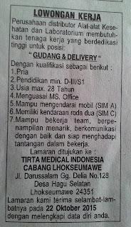 Lowongan Kerja pada PT.Tirta Medical Indonesia