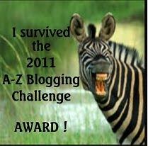 2011 A-Z Challenge Award from Elizabeth Mueller!