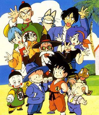 original Dragon Ball 80's characters  Tien Shinhan, Puar, Yamcha, Bulma, Master Roshi, Launch, Tortoise Genie, Chiaotzu, Krillin, Goku, and Oolong
