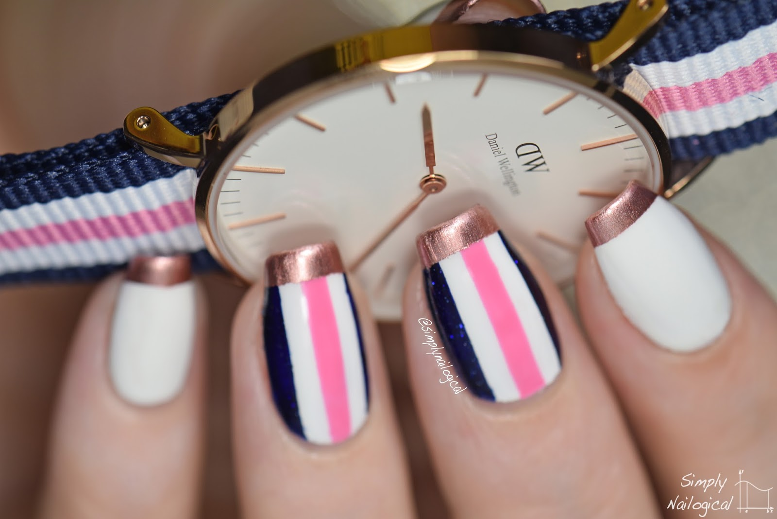 Simply Nailogical: Rose gold-tipped and stripes inspired by a ...