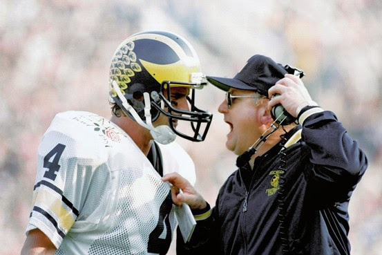photo of Bo Schembechler shouting at Jim Harbaugh