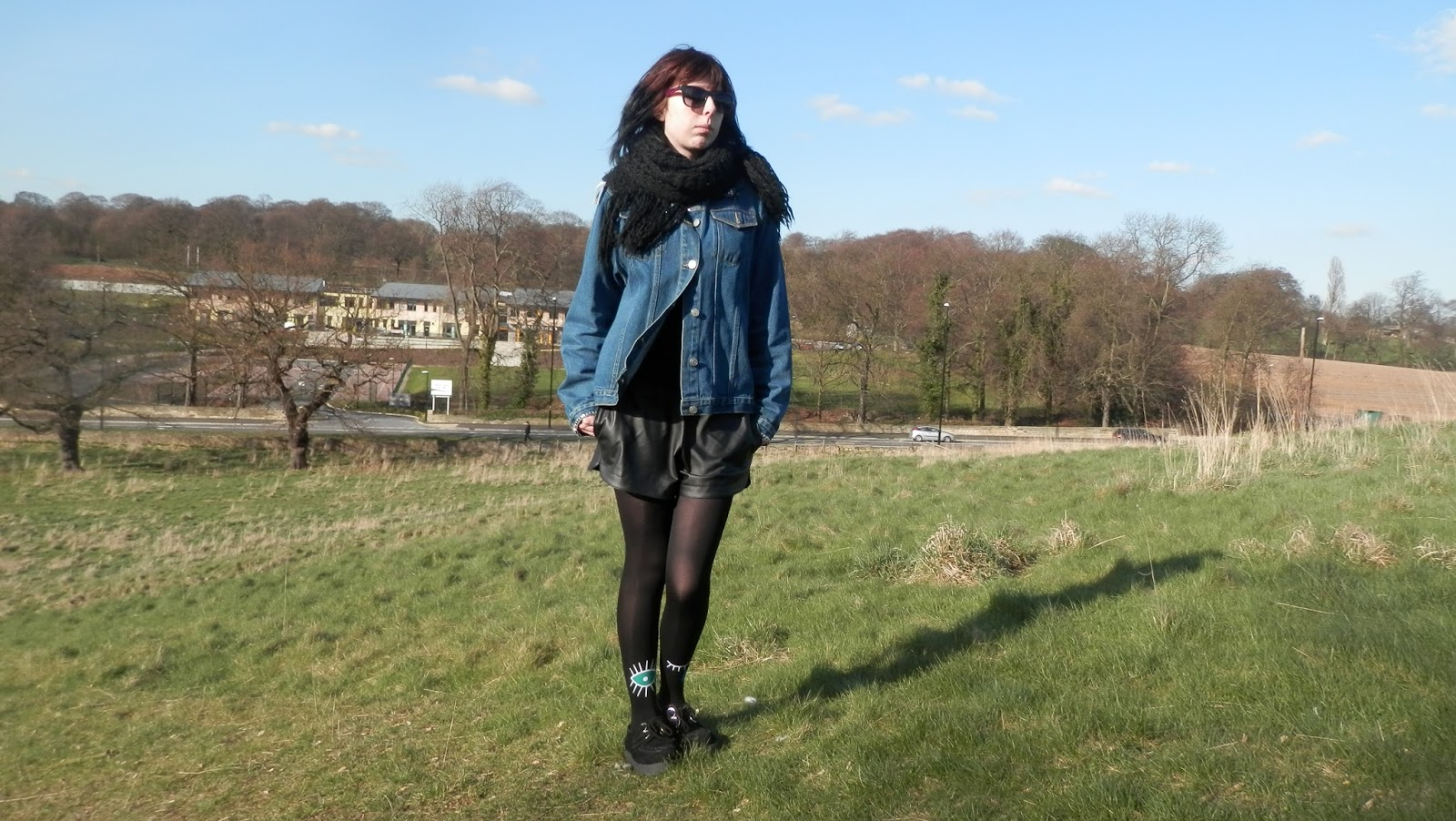 Black printed eye tights, outfit, ootd