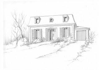 Monique caffet lemoine dessins du batiment - Dessin en perspective d une maison ...
