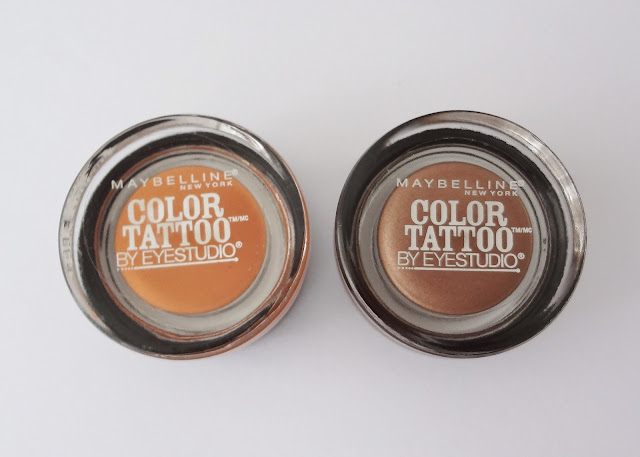 Maybelline color tatoo be eyestudio in fierce & tangy and bad to the bronze.