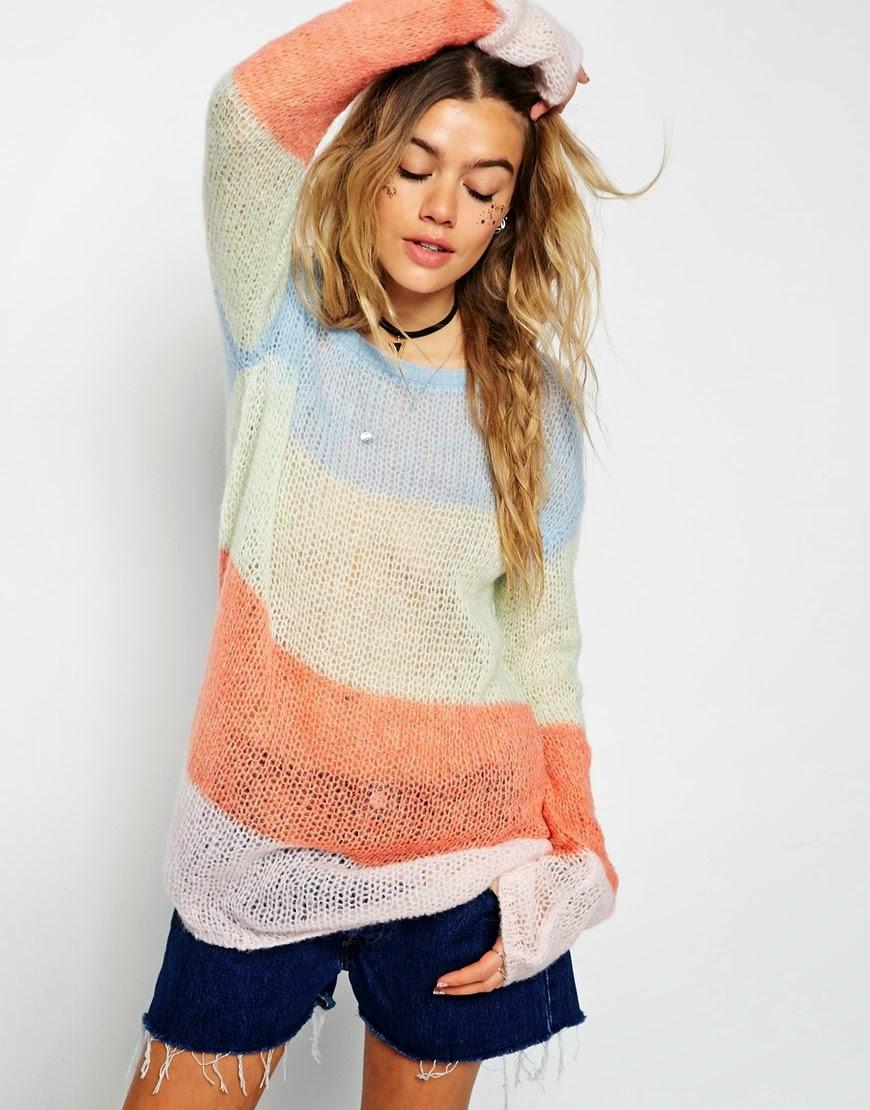 mohair pastel jumper, pastel stripe jumper,