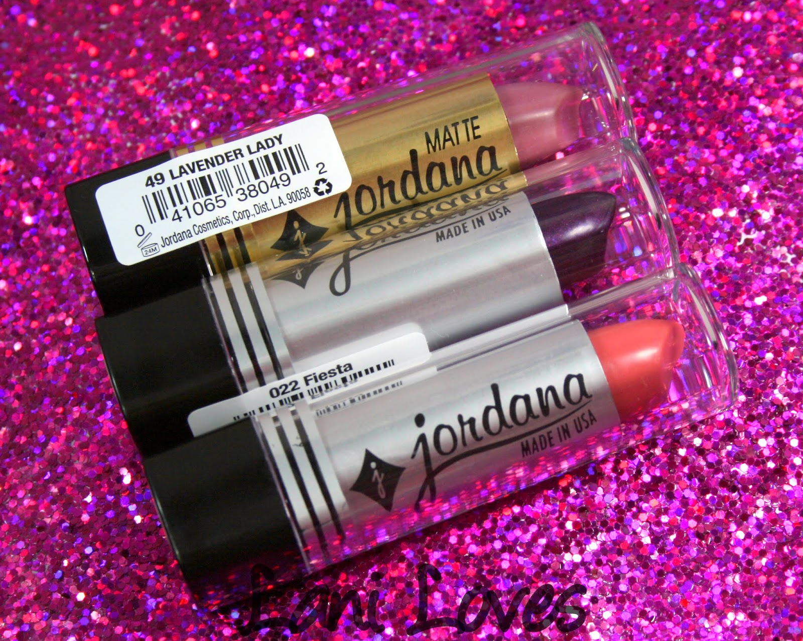 Jordana Lipsticks - Matte Lavender Lady, Fiesta and Pink Lemonade Swatches & Review