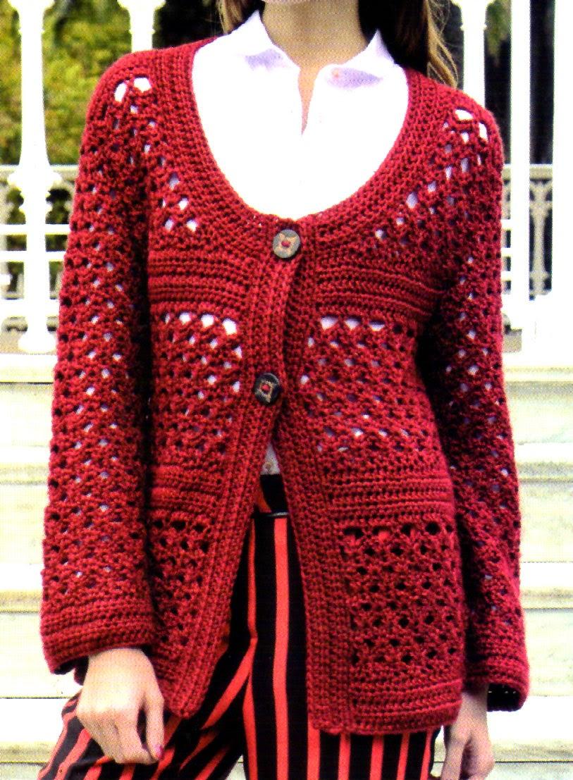 saco artesanal tejido en crochet frente