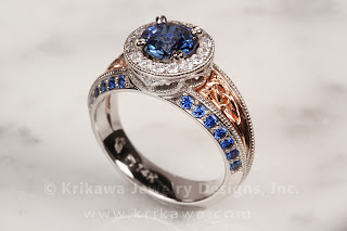 Vintage Style Engagement Ring with Celtic Detail and Blue Sapphire