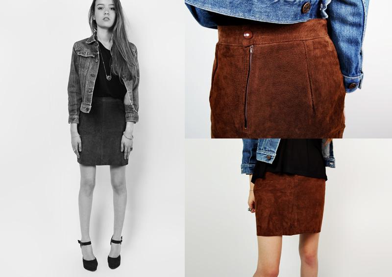 a6b4ab8028976 80 s marron jupe en daim. jupe crayon en cuir taille haute. jupe en daim  Vintage - petit